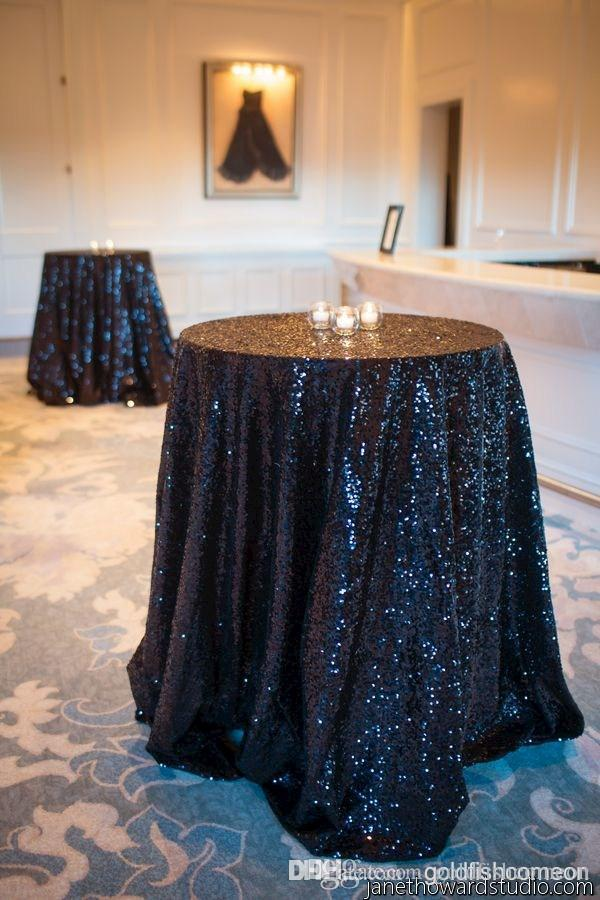 New Arrived Black Sequin Tablecloth 48 Inch Round Table Cloth