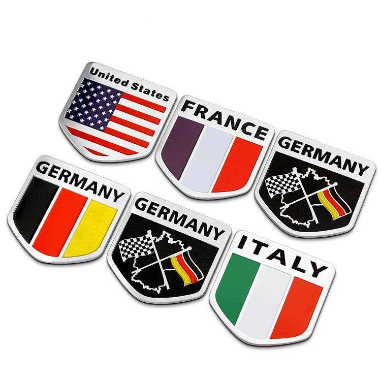 2018 3d Aluminum Russia Usa France Germany Italy Flag Car Sticker