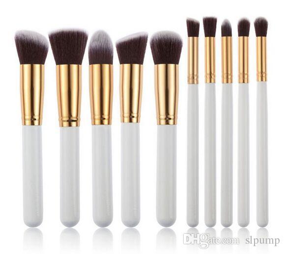 10 unids Pinceles de Maquillaje 10 unids Profesional Kit de Cepillo Cosmético Nylon Pelo Mango De Madera Herramientas de Fundación de Sombra de Ojos