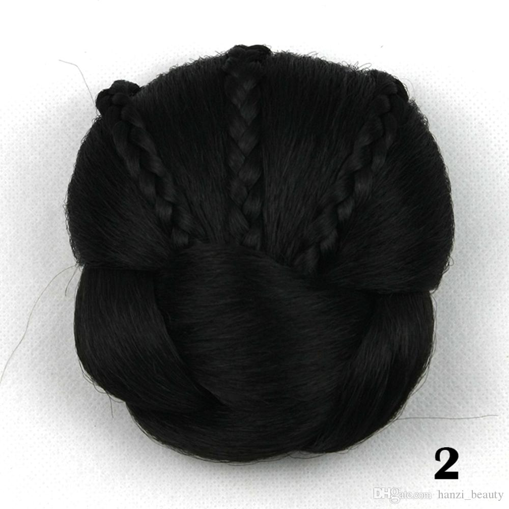 hanzi_beauty new Soloowigs Heat Resistant Fiber Women Clip-in Braided Chignon Synthetic Hair Buns for Brides
