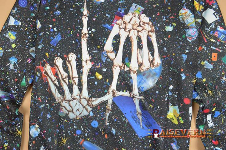 Raisevern هالوين الهذيان زي الجمجمة العظام الهيكل العظمي مطبوعة البلوز الإبداعية المرأة الرجل هود 3d المجرة تعرق البلوز