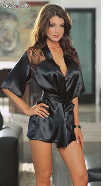 Mujer sexy sexy pijamas divertidos camisón sexy pijamas de seda 9068