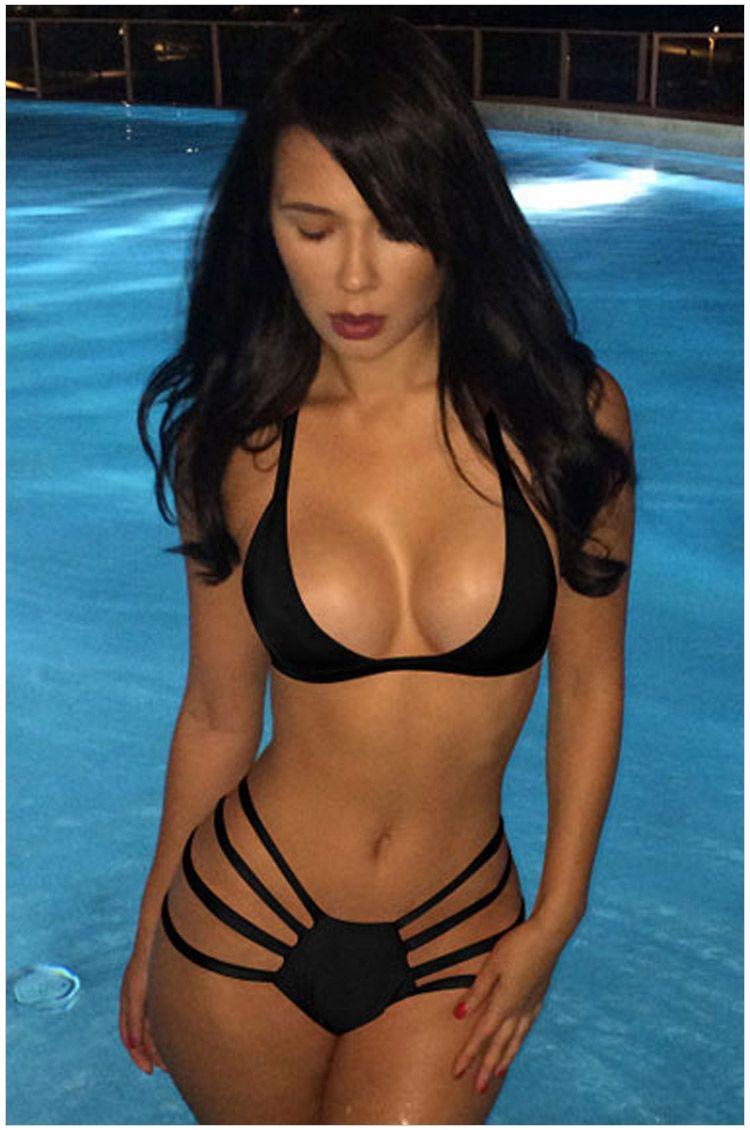 Moda sexy diseño de marca de alta cizalla con traje de baño traje de baño sexy Bikini triángulo retro playa traje de baño envío gratis
