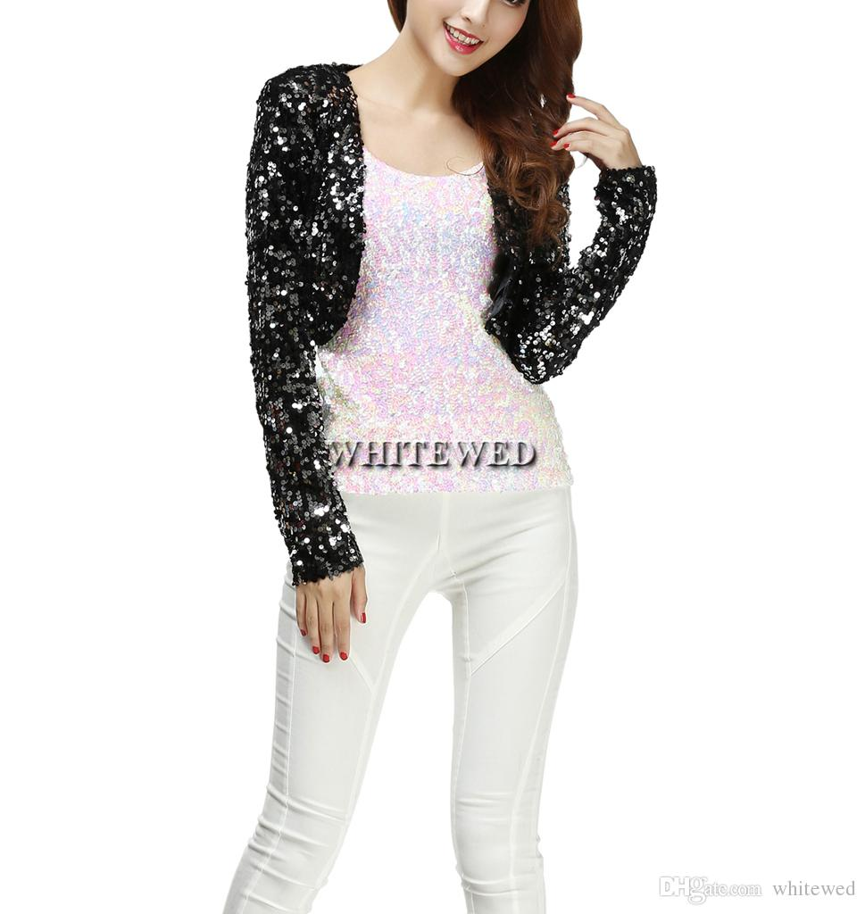 Cheap Sequin Special Occasion Bolero Evening Entertainer Stage Dance Shrug Cardigan Costume Tops Clothing Jackets Wear for Musicians Women