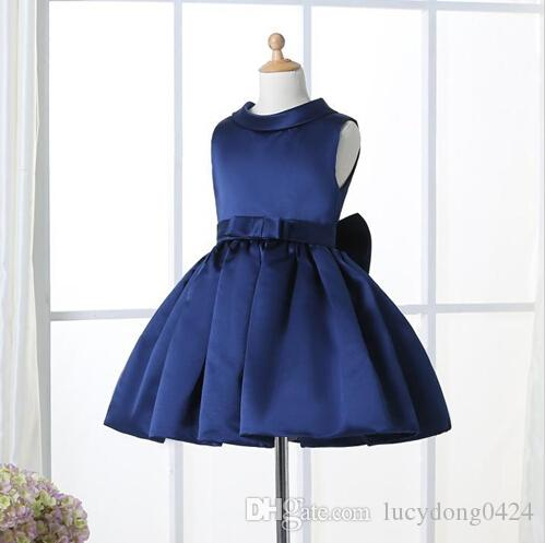 Flower Girl Dresses For Weddings Ginocchio elegante scollo tondo con scollo a V con maniche personalizzate bambini