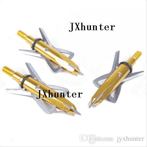 6 peças 2 lâminas de seta cabeça ponta ponta broadhead para caça arco composto 100gr em cor dourada frete grátis