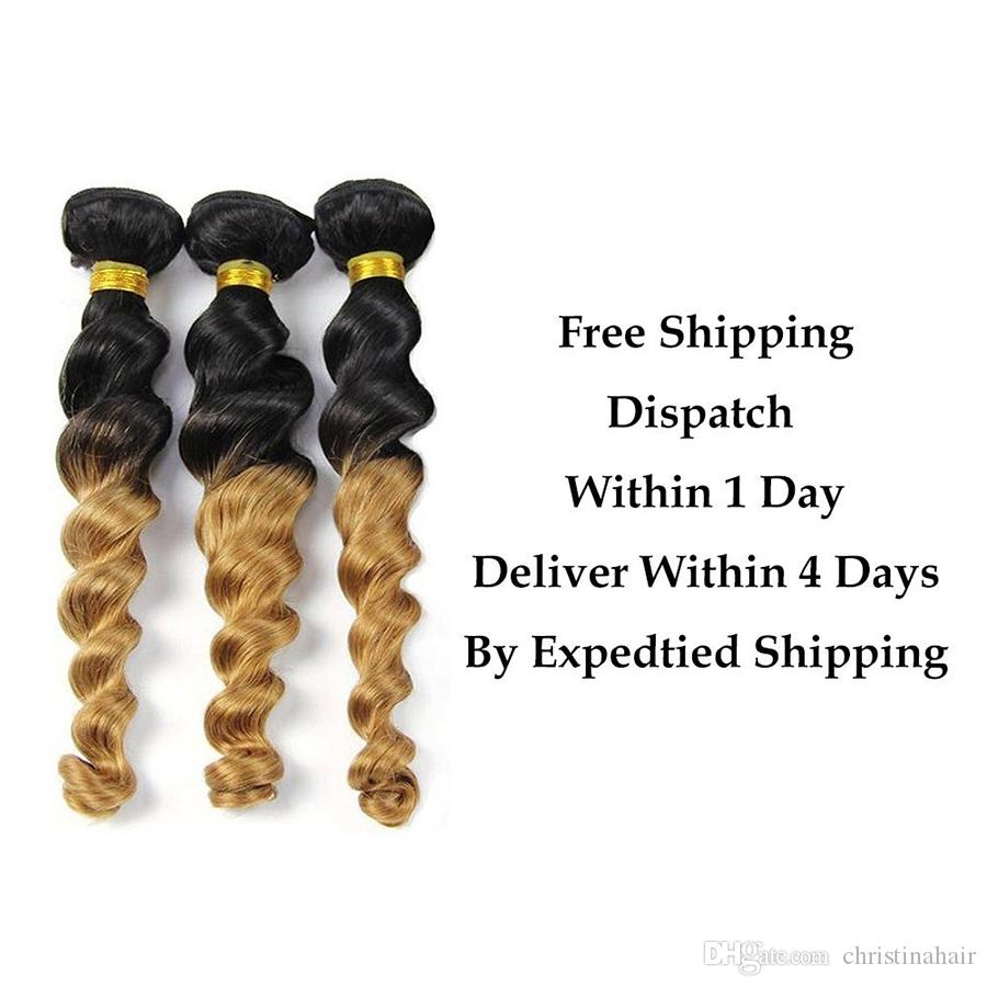 7A Ombre Peruvian Bouncy Loose Wave 3 Bundles Virgin Human Hair Weft 1b/27 Ombre 2 Tone Color Blonde Extensions Weave