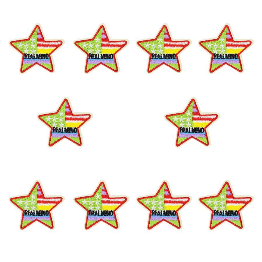 Multicolor-Sterne-Patches für Kleidung Taschen Eisen-on Transfer Applikationen Patch für Jacke Jeans nähen auf Stickerei-Abzeichen DIY