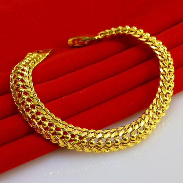 Gold bracelet men do not fade female models 24k gold chain for Does gold plated jewelry fade