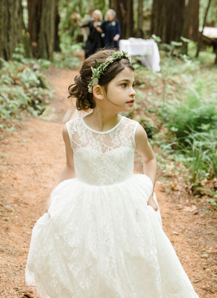 f158aec28626 Cheap Ivory Beach Lace Wedding Flower Girl Dresses A Line Jewel V Backless Little  Girl Birdal Dress Floor Length Princess Girl Dresses Sage Flower Girl ...