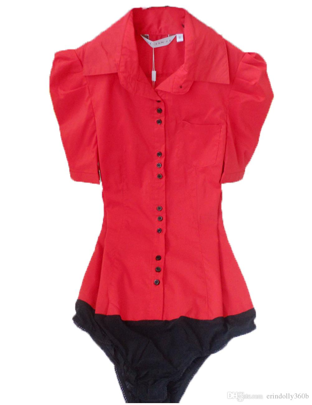 82de41dacda89 2019 Plus Size 2017 Women Fashion Summer Style Short Sleeve OL Formal Body  Shirt Button Ladies Blouse Work Wear White Red Blue S XXXL From  Erindolly360b
