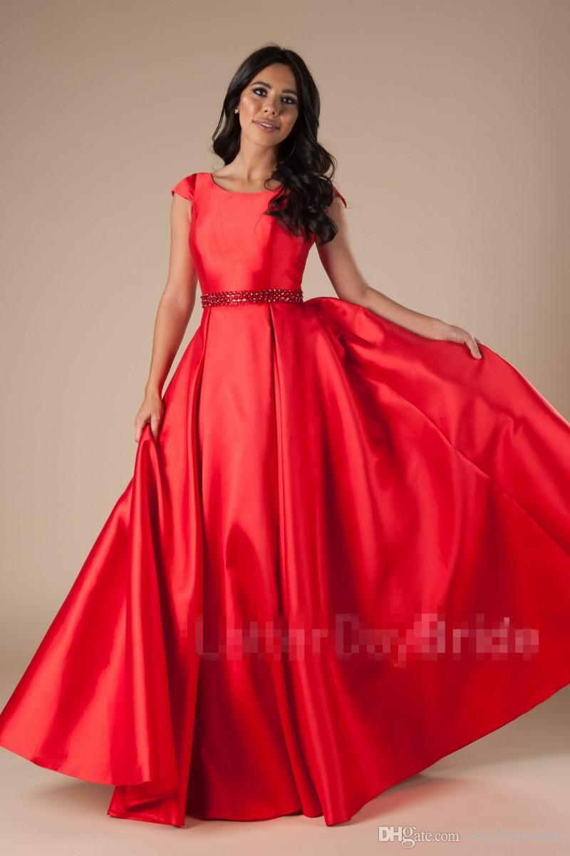 1399dde27d11 2018 New Long Red A Line Modest Pom Dresses With Sleeves Pockets Satin  Simple Elegant Teens Girls Formal Prom Party Gowns Custom Made Floor Petite  Prom ...