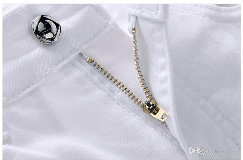 2015 Branco Impresso Calças De Brim Dos Homens Exclusivo Iluminação E Execução Homem Impressão de Algodão Tamanho Grande 44 Jeans Skinny Para Homens Denim Calças NNK1020