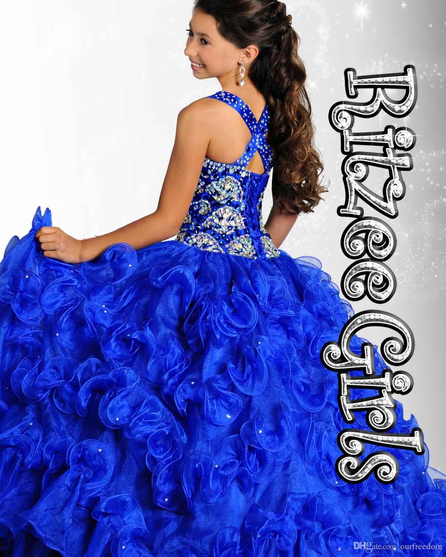 2019 new Crystal Girl's Pageant Robes avec perles de halter Volants robe de ballon organza personnalisé modeste bleu jaune rose fleur fille robe enfants