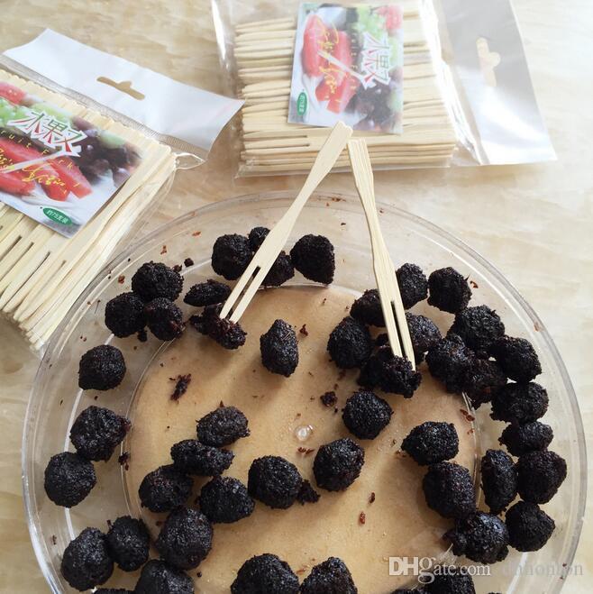 Saf doğal meyve çatal yaratıcı iki diş taşınabilir sofra Lüks butik ahşap meyve özel çatal ücretsiz kargo HK33