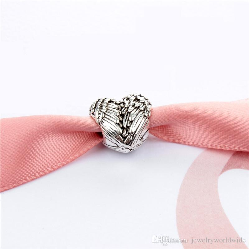 Feather Heart Charm Bead Fashion Donne Gioielli Stunning Design Stile Europeo Adatta Braccialetto Pan Bangle
