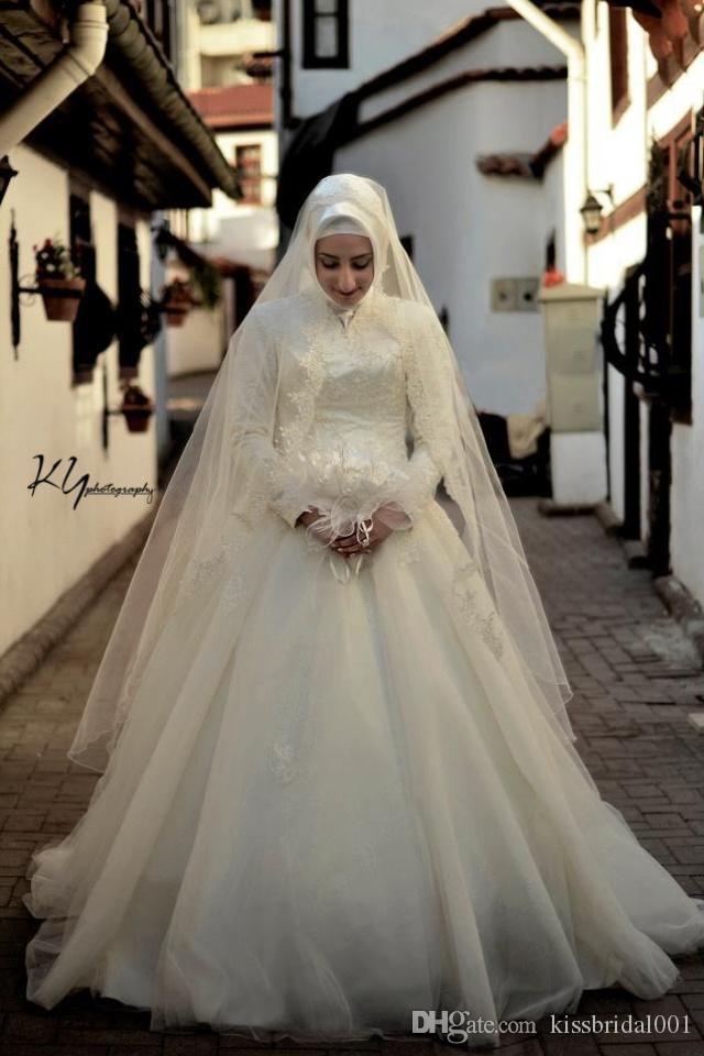 Ivory Muslim Wedding Dresses Long Sleeves Lace Bridal Gowns A Line High Collar Zip Back Floor Length Tulle Wedding Gowns