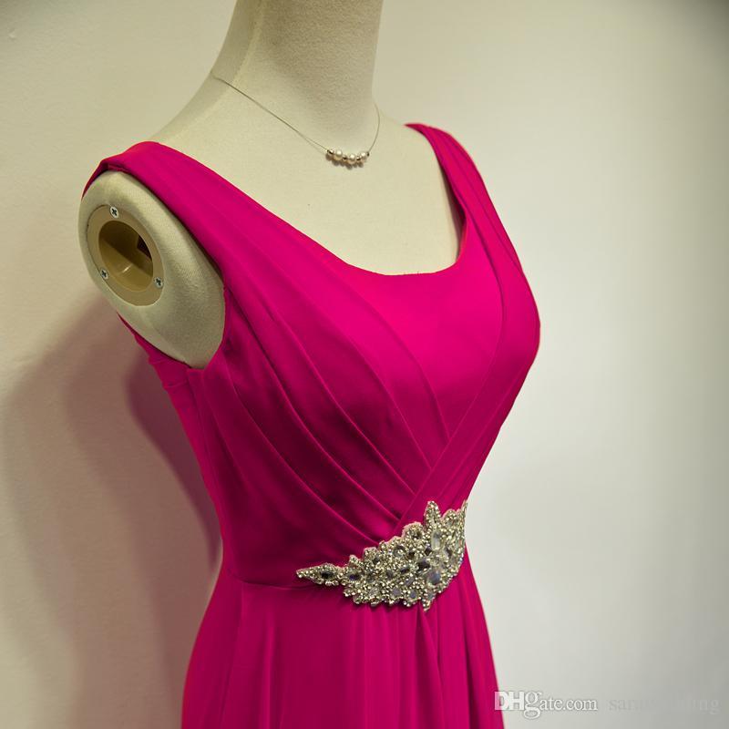 New Scoop Neck Long Chiffon Abendkleid mit Kristallboden Länge Abendkleider nach Maß