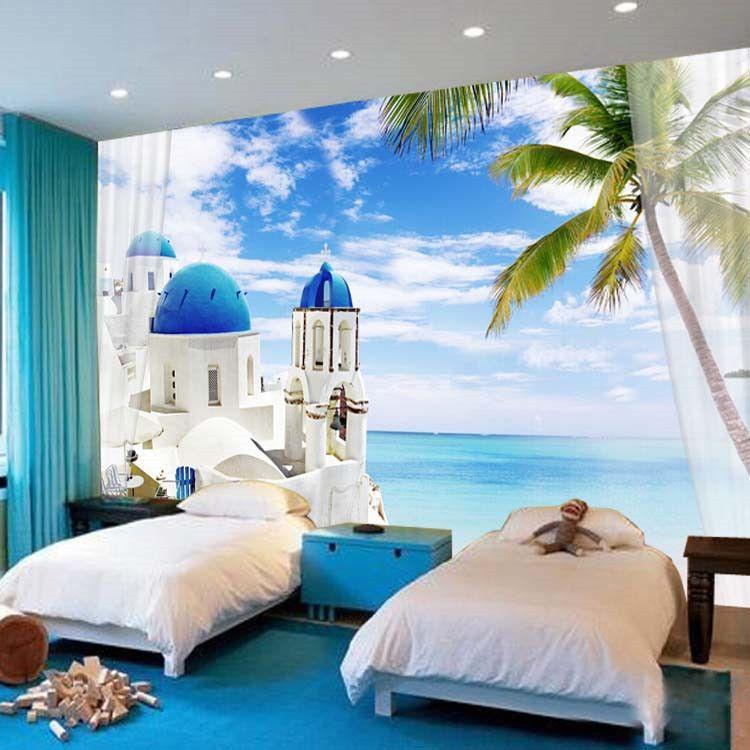 Charming Santorini Wallpaper 3D Seascape Photo Natural Scenery Murals Custom Wall Mural Giant Art Room Decor Bedroom Kids