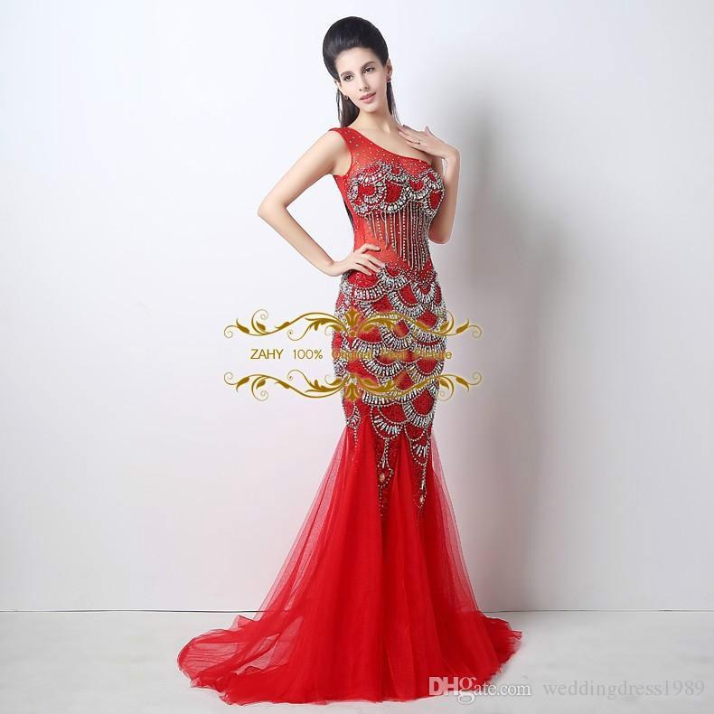 Real Image Sheer Tüll Festzug-Kleid One-Shoulder Mermiad Red Cocktail Party Kleider 2018 New ZAHY Mermaid Prom Kleider