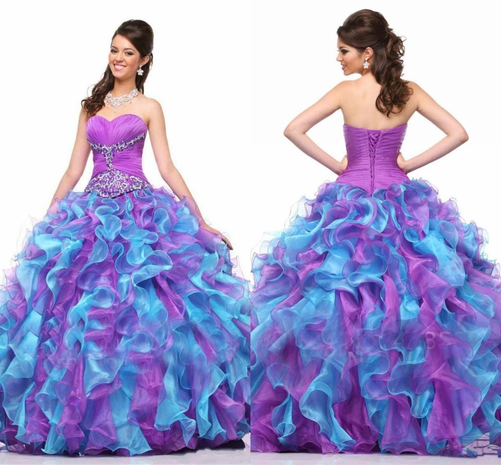 2015 Purple Blue Organza Princess Quinceanera Dresses Beaded Bodice ...