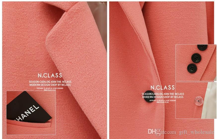 S5Q Womens Warme Winter-montierte Trenchcoat neue heiße Dame Revers Slim lange Jacke Oberbekleidung EBQ