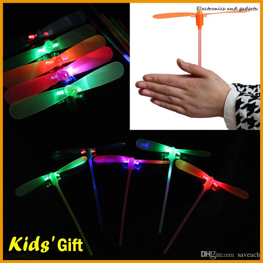 Novelty Children Funny Toys Led Fly Helicopter Flash Bamboo Dragonfly LED Flying Lights Toys Luminous Dragonfly Colorful Kids Christmas Gift