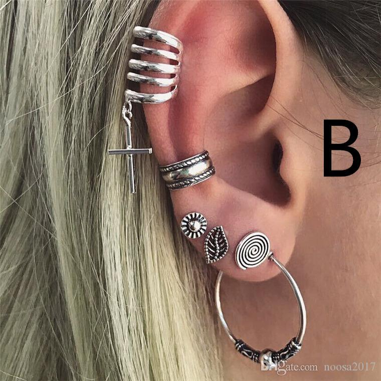 New fashion 4 styles Bohemian Vintage C shape ear clip moon sun leaves love chain cross shell Ear Cuff for female exaggerated earrings