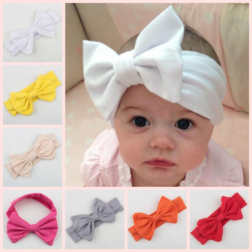 2015 Infant Bow Headbands Girl Cotton Headwear Big Bow Hair Flower Headbands  For Girls NewBorn Bow Hair Accessories Baby Hair Bands Silk Flower Hair ... e3c8cd4e156b