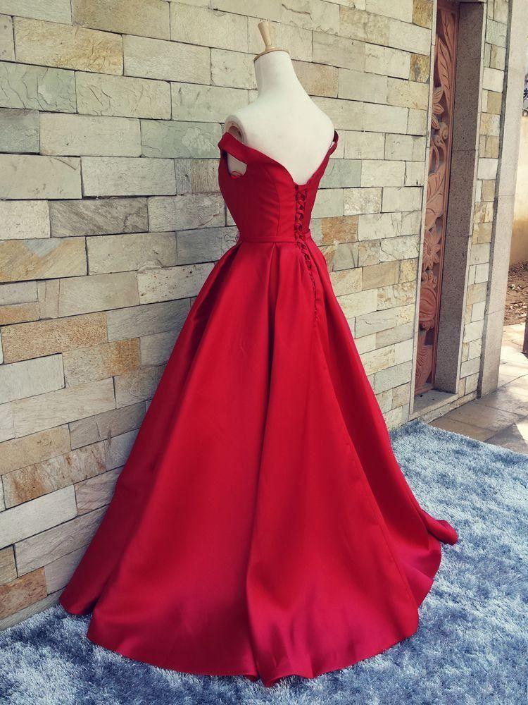 2017 Simple Rojo Oscuro Vestidos de Baile Cuello en V Fuera del Hombro Fruncido Satén Por Encargo Sin Espalda Corsé Vestidos de Noche Vestidos Formales Imagen Real