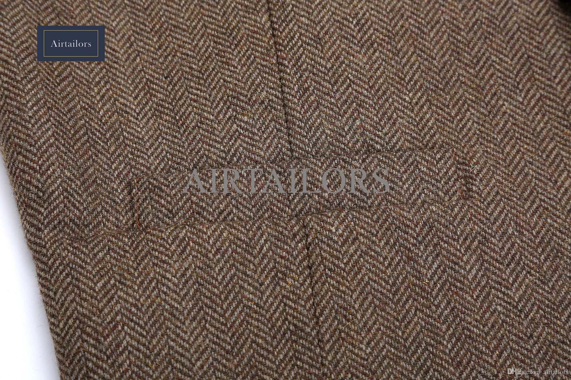 2018 New Vintage Wolle Braun Fischgrat Tweed Westen Marke Herren Anzug Weste Slim Fit Bauernhof Hochzeit Weste für Männer Formale Weste Männer