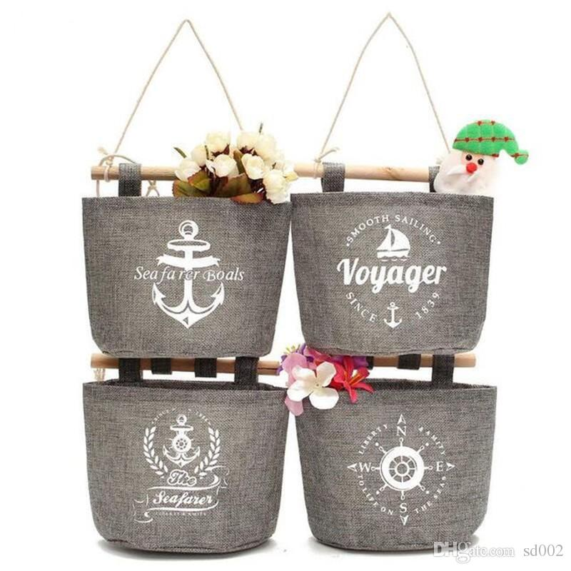 Navy Style Storage Bag Voyager Seafarer Boals Ship Anchor Pattern Finishing Bags Square Hanging Pouch Factory Direct Sale 4 5zy B