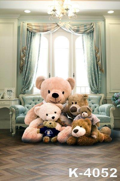 2018 5x7ft Teddy Bears Bedroom Photography Backdrop For