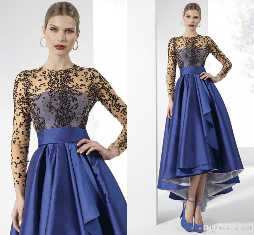 Elegant Royal Blue High Low Mother Of The Bride Dresses Long Sleeve Black Beaded Dresses Evening Wear Plus Size Mothers Gowns