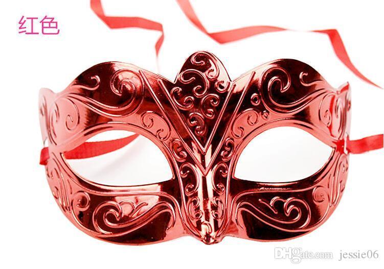 الأزياء قناع الذهب الساطع مطلي قناع حفلة تنكرية شارع الرقص نصف الوجه حسناء عيد الميلاد هالوين قناع يمزج 6 لون 100 قطع