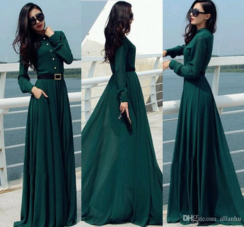 3d43204c302 2019 Vestido Dark Green Longo Women Dresses Vintage Elegant Casual Lady Long  Button Party Maxi Shirt Dress Kaftan Abaya Tunics Women Black Dress White  Dress ...