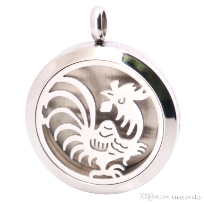 Galo de prata Aço Inoxidável Colar Pingente Aroma 30mm Medalhão Essencial Difusor Óleos Medalhões Livre Sentiu Almofadas Como Presente