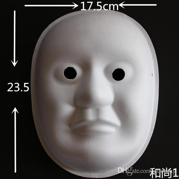Satın Al Peking Opera Boyasız Beyaz Maske Tam Yüz çevre Kağıt Hamuru