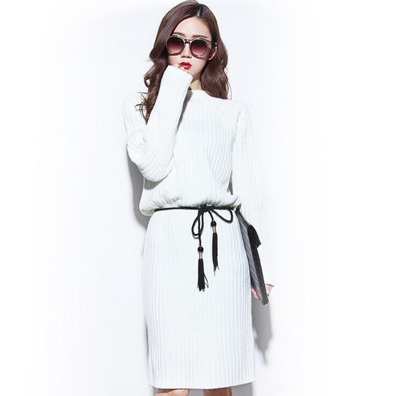 2016 New Thick Sweaters Women White Color Knitwear Long Sweater