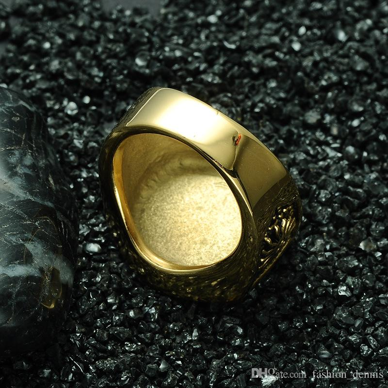 Hot Hip-Hop Masonic Men's Rings Carved Geometric Hipsters gold Plated stainless steel Rings For Men s Hip Hop Jewelry Top Grade