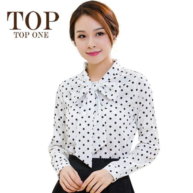 2018 spring autumn chiffon shirt women long sleeve polka dot