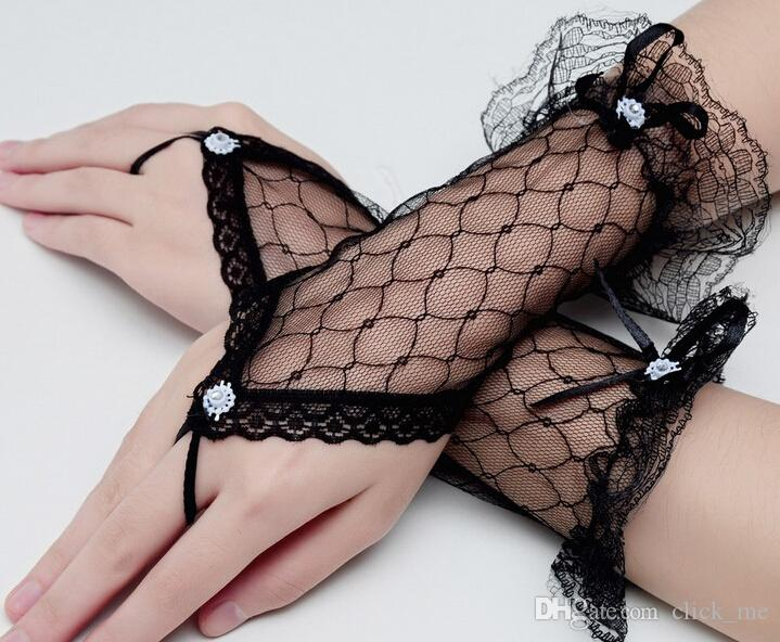 Fashion White Lace Girl Wedding Dress Finger Gloves Child Flower Gown Ball Glove Kid Girls Accessories Girls Finger Gloves
