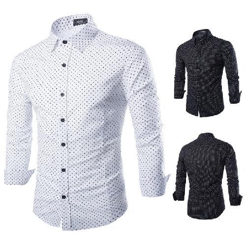 Discount Fashion Men Classic Small Polka Dot Men Shirt 100% Cotton ...