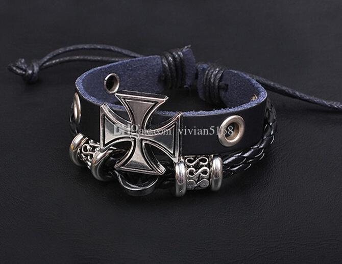 Handmade Leather Braided Bracelets Bangle Wristband Adjustable Vintage Christian Bible Cross Charm Women Men Christmas Gifts