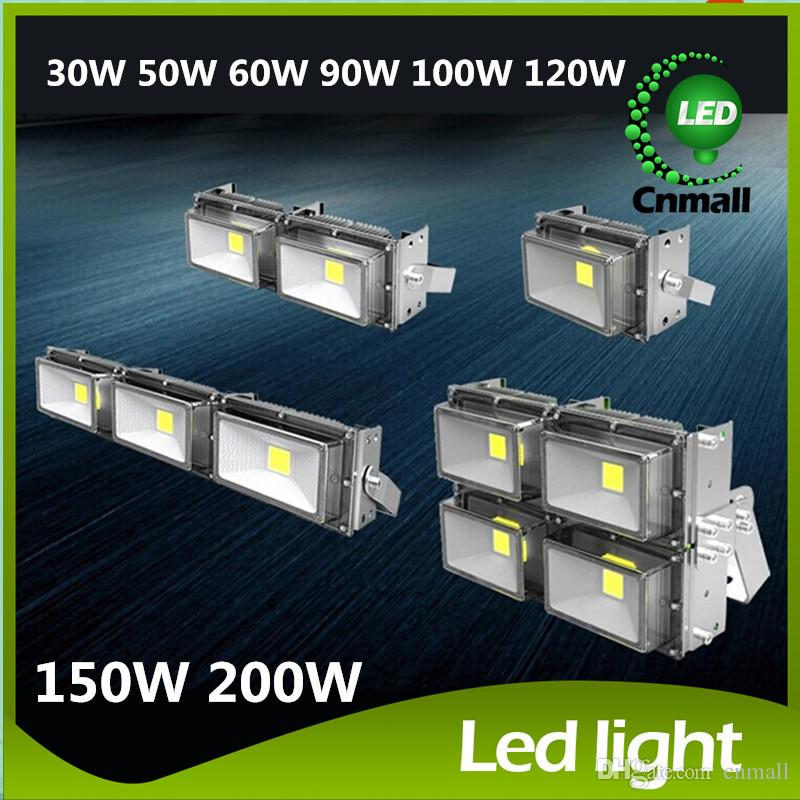 2015 Outdoor Floodlights 30W 50W 60W 100W 120W 150W 200W Outdoor Waterproof Led Floodlights Warm/White IP67 Led Flood Lights AC 85-265V