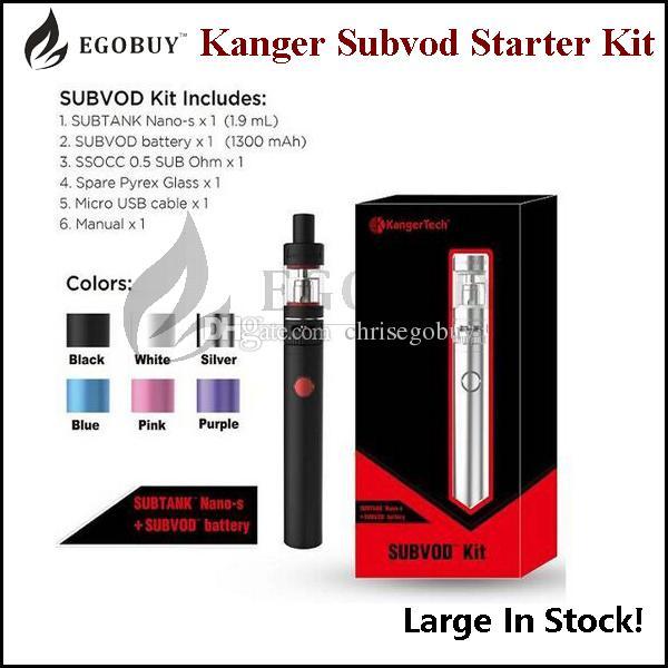 100% original kangertech subvod starter kit genuine kanger subvod kit authentic subvod kits 1300mah battery 3.2ml toptank nano atomizer