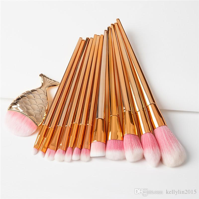 3D Mermaid Makeup Brushes Sets 11 Diamond Professional Cosmetic Blush Foundation Brush Big Fish Tail Colorful Make Up Brushes Kits