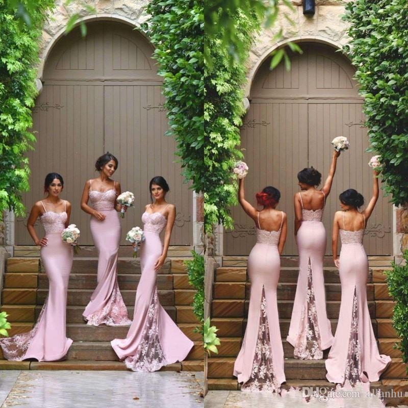 Yeni Tasarımcı Pembe Seksi Ucuz Mermaid Nedime Elbiseleri Spagetti Sapanlar Dantel Aplikler Backless Düğün Konuk Hizmet Hizmetçi