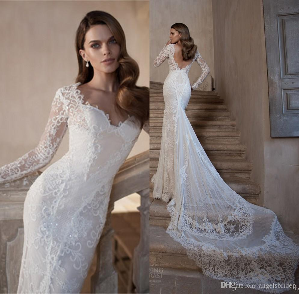 Tarik Ediz Bridal 2015 Long Sleeve Wedding Dress Lace Open Back Bodice Trumpet Mermaid With Cathedral Train Gown Style Ivory