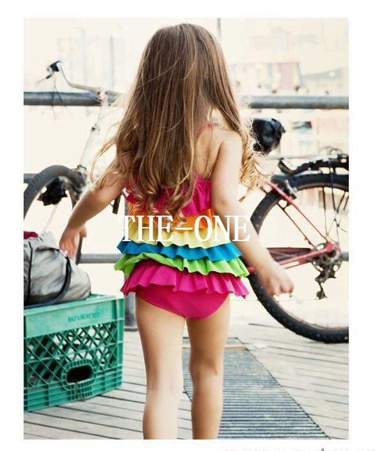 maillot de bain arc-en-ciel fille maillots de bain été maillot de bain filles arc-en-ciel plage bébé porter maillot de bain coloré bikini vague maillot de bain filles en stock